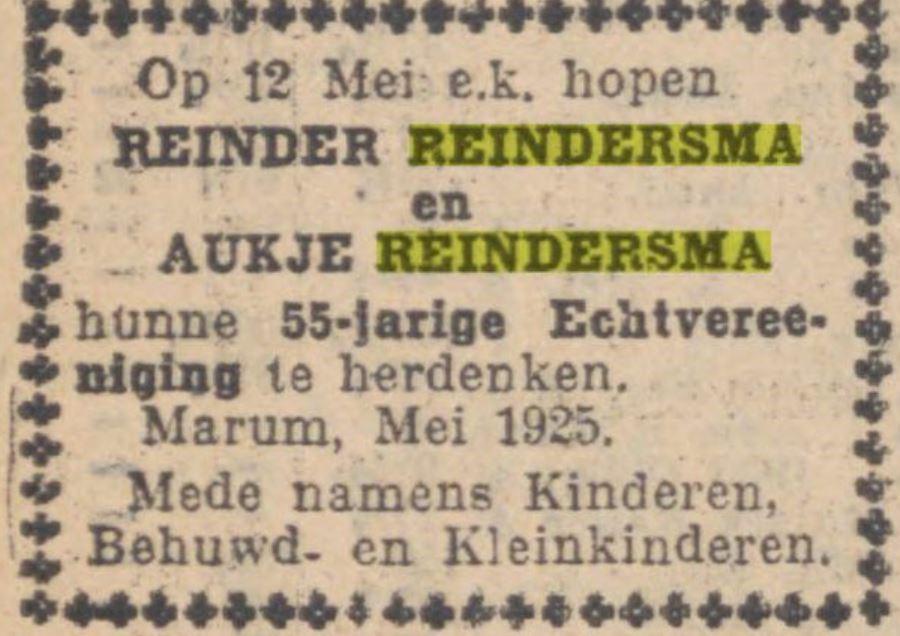 25 jaar huwelijk Reinder en Aukje Reindersma