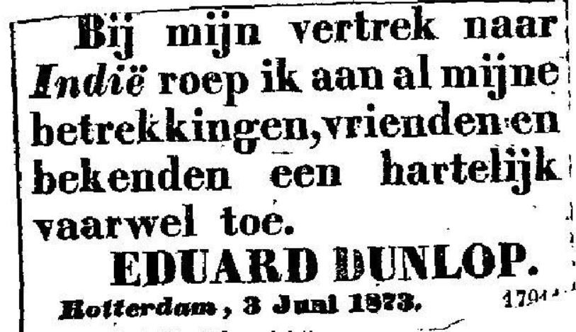 advertentie Eduard Dunlop