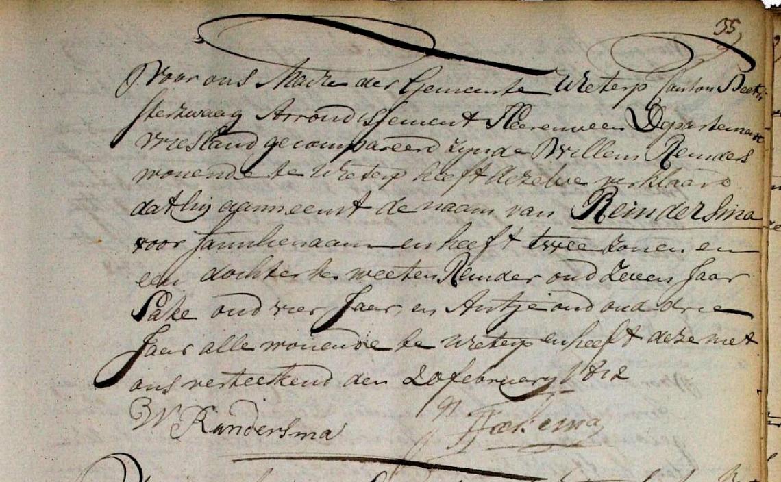 1811 Willem Reinder Reinderma. Naamsaanneming