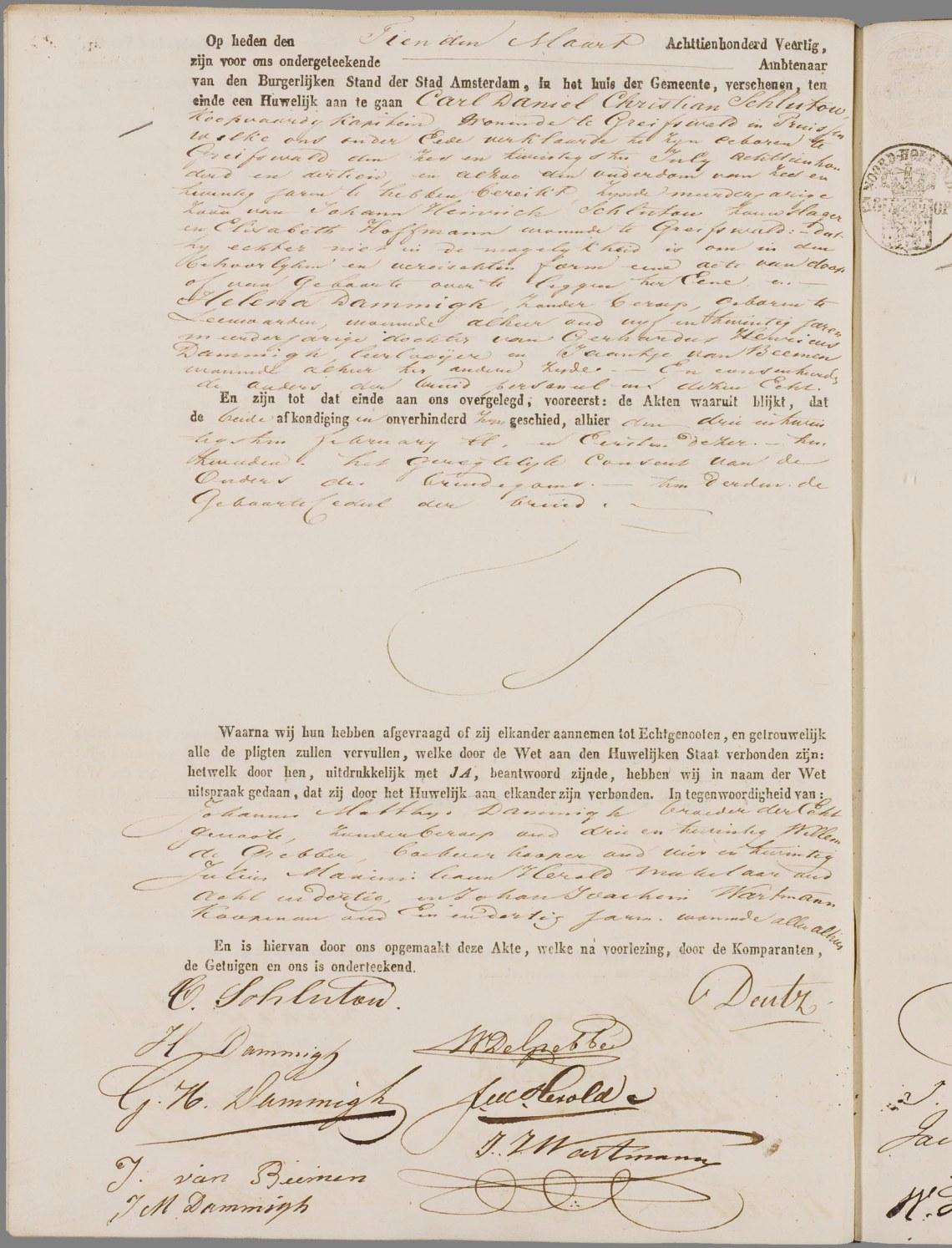 7. 1840 10-03 huwelijksakte Schlutow Dammigh
