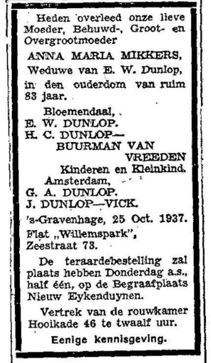 1937 25-10 overlijden Mevr. Dunlop-Mikkers