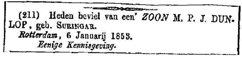 1853 06-01 geboorte E.W. Dunlop I