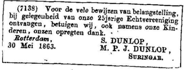 1863 30-05 ouders E.W.Dunlop I 25 jaar getrouwd.