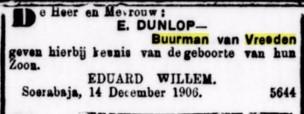 1906 14-12 geborte Eduard Willem III