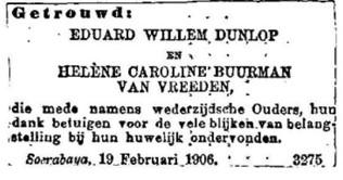 1906 huwelijk Eduard Willem en Helena Carolina.